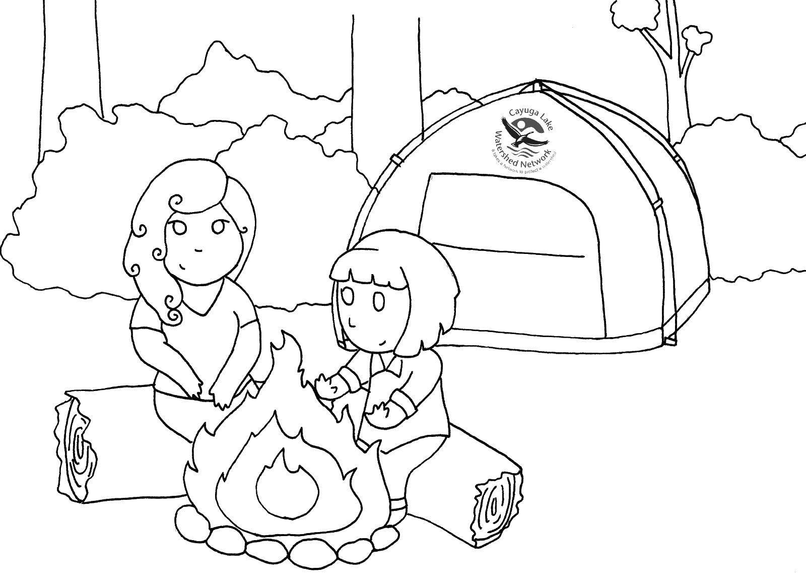 Раскраска Отдых на природе Скачать ,парк юрского периода, динозавры, машина,.  Распечатать