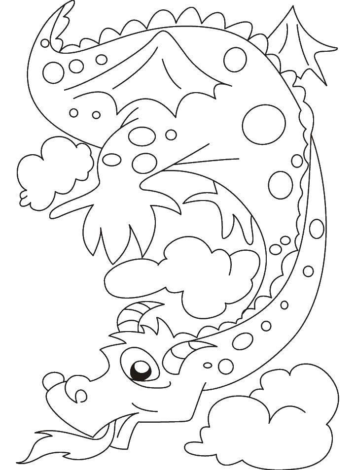 Раскраски дракоша, Раскраска Смешной дракоша Драконы.