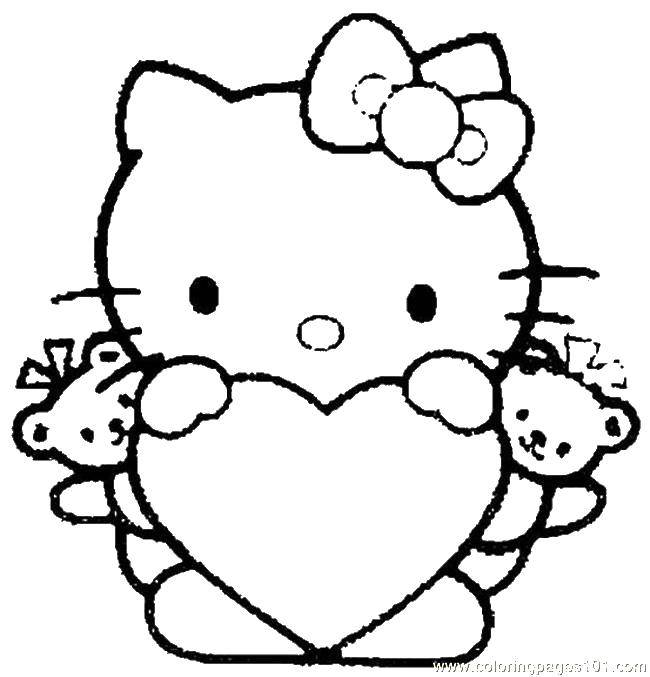 Coloring pages Hello Kitty Скачать .  Распечатать