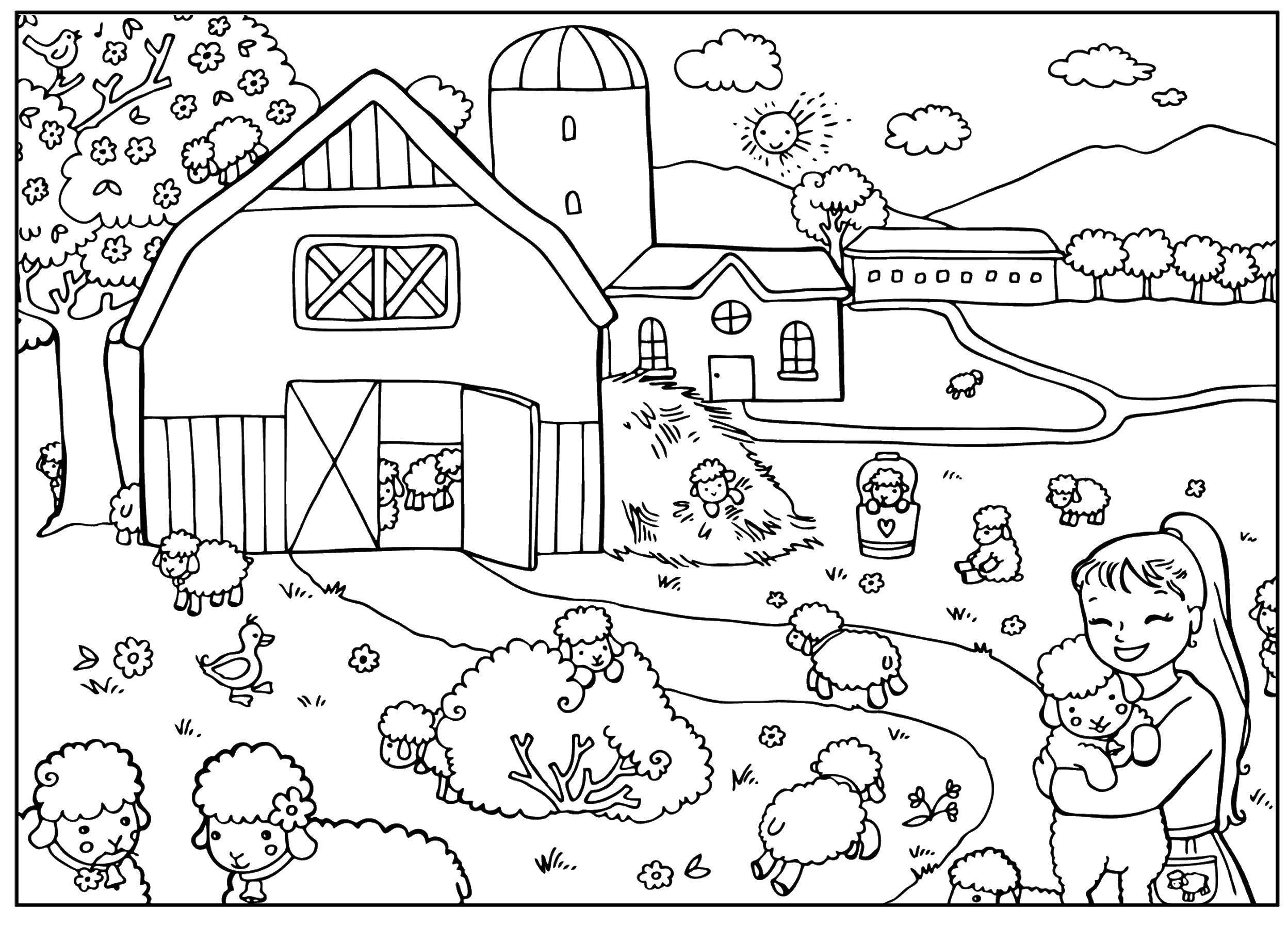 Coloring pages Village Скачать .  Распечатать