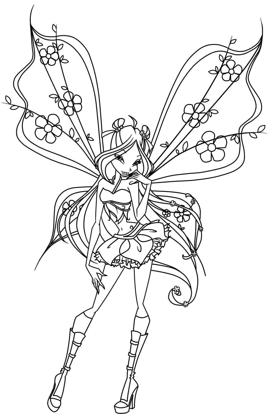 Название: Раскраска Флора и её цветочные крылышки. Категория: Винкс. Теги: Персонаж из мультфильма, Winx.