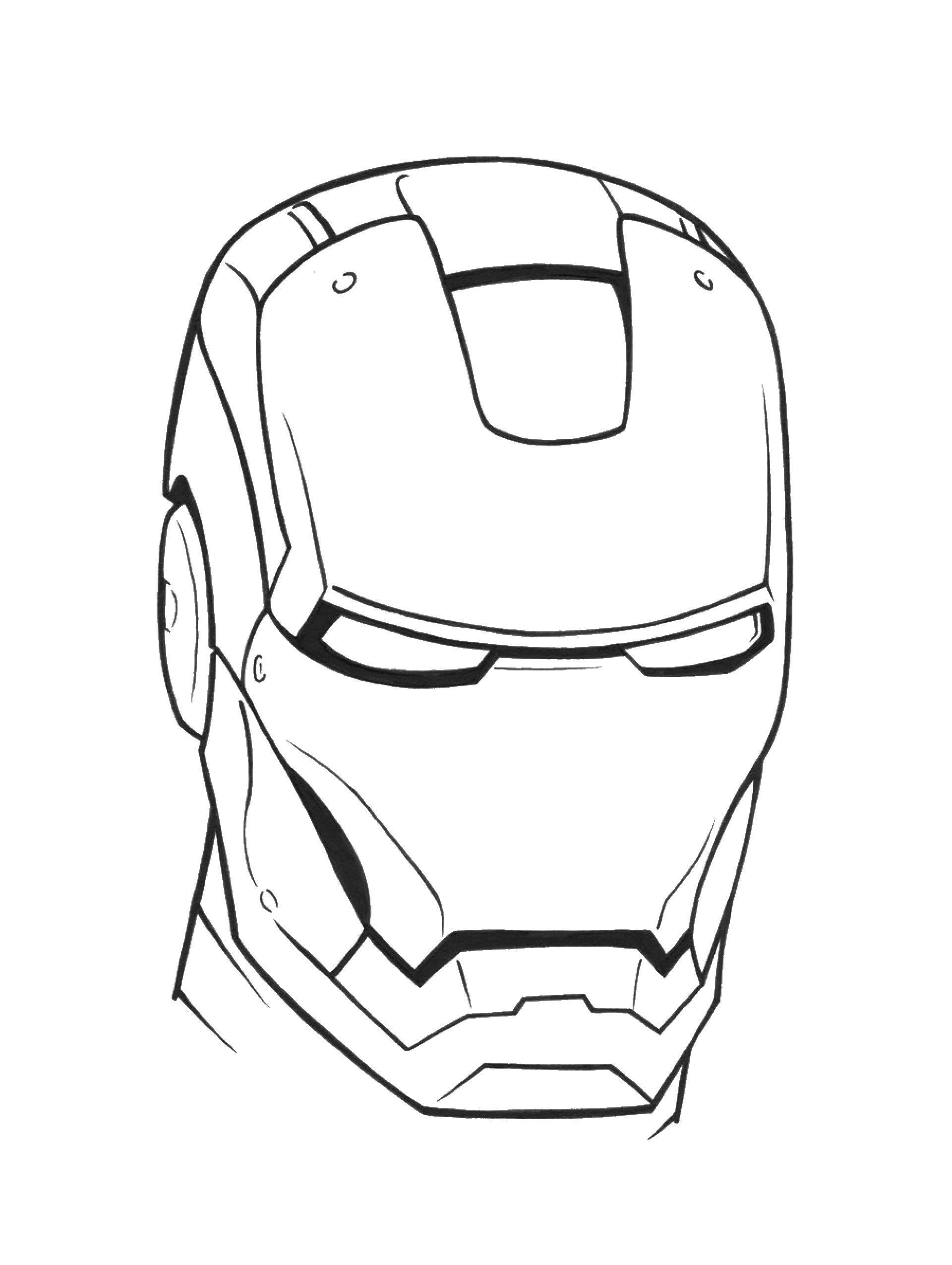 Раскраска железный человек Скачать ,железный человек, маска,.  Распечатать