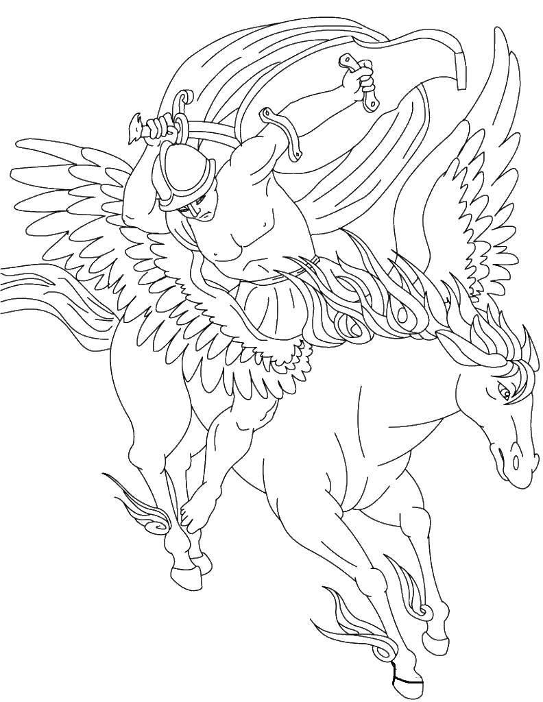 Раскраска лошадка с крыльями