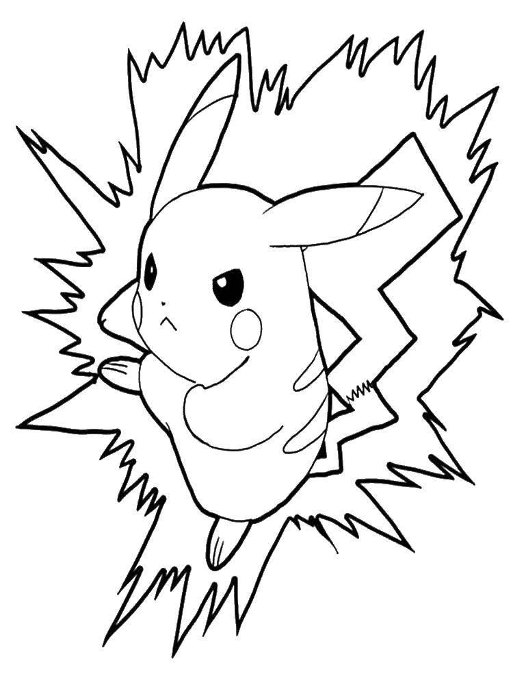 Раскраски пикачу, Раскраска Пикачу покемон покемоны.