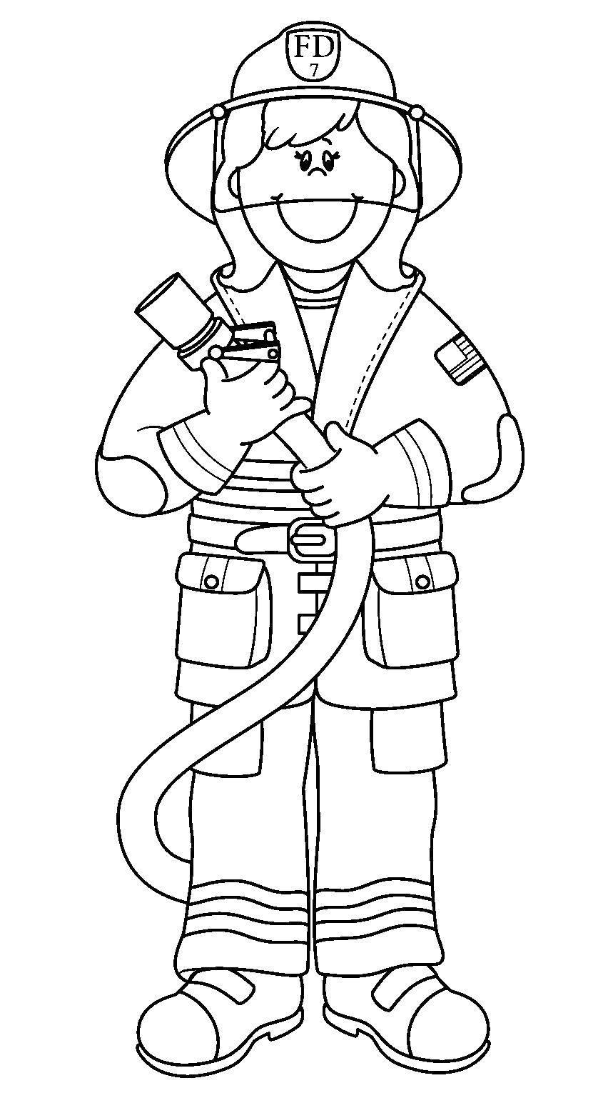 Раскраска на тему профессия пожарный