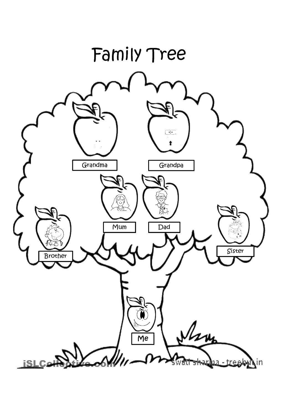 Раскраска Дерево семьи Скачать ,Семья, родители, дети,.  Распечатать