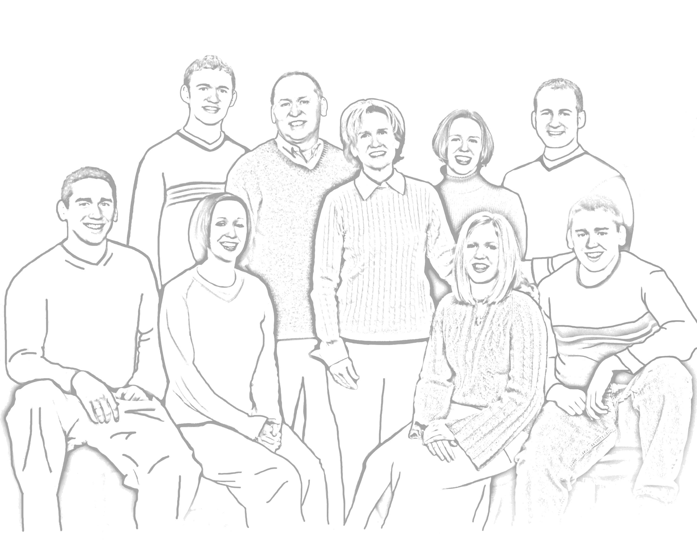 большая семья рисунок карандашом утром баба возвращается