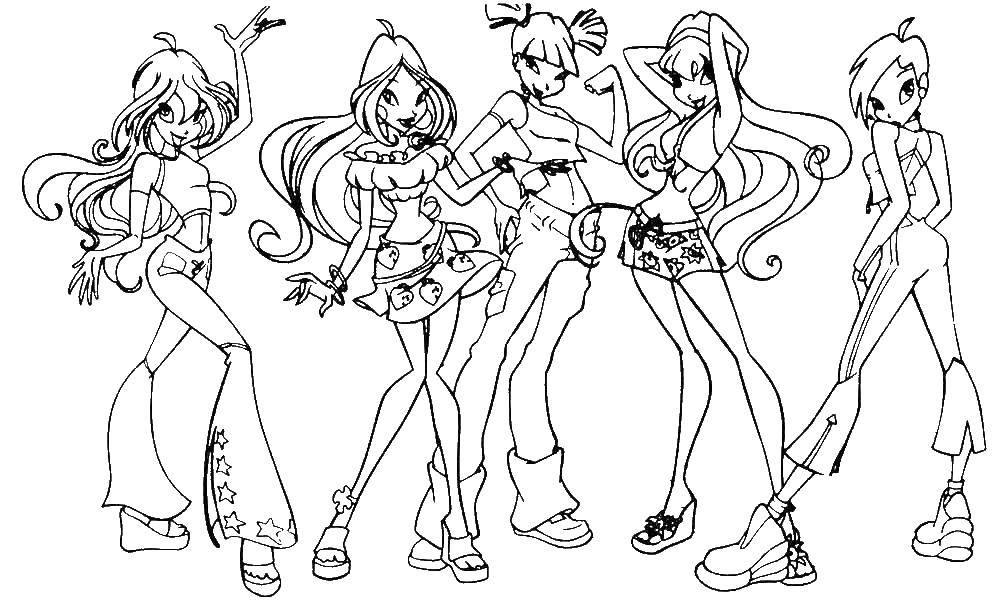 Раскраски девочки, Раскраска Девочки винкс Винкс.