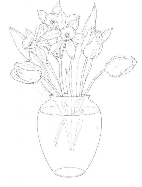 рисунок нарциссов в вазе поэтапно