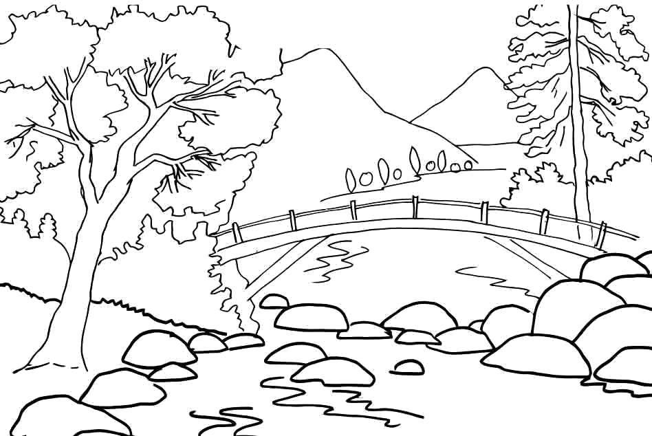 Coloring A rapid river flows under the bridge Download Nature, forest, mountains, river, bridge.  Print