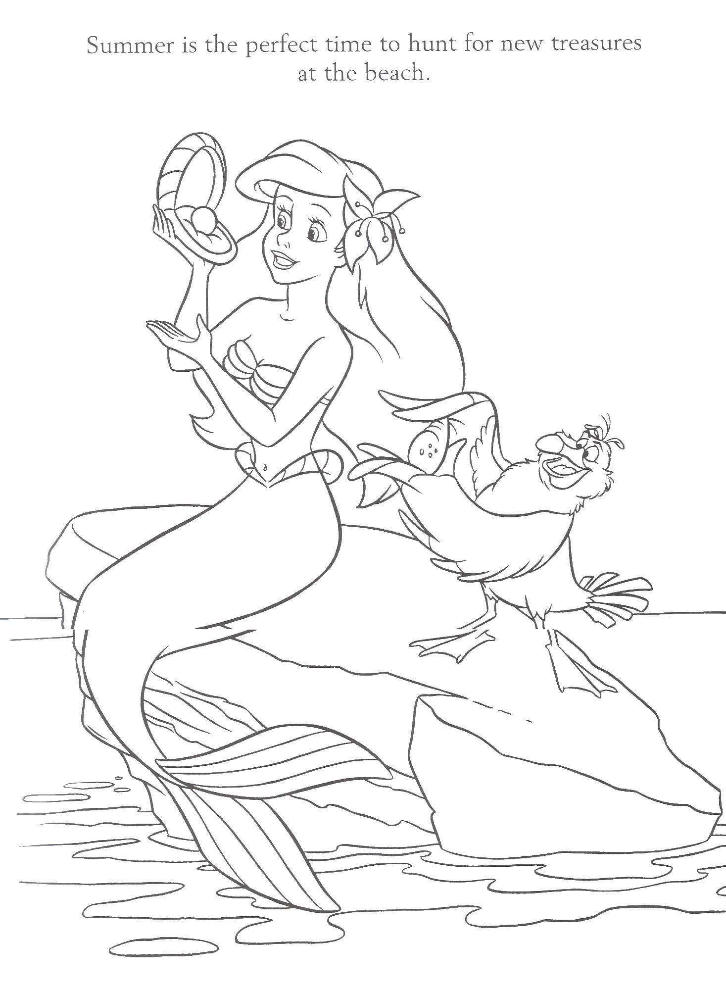 Раскраски Раскраска Ариэль держит ракушку Русалочка ...
