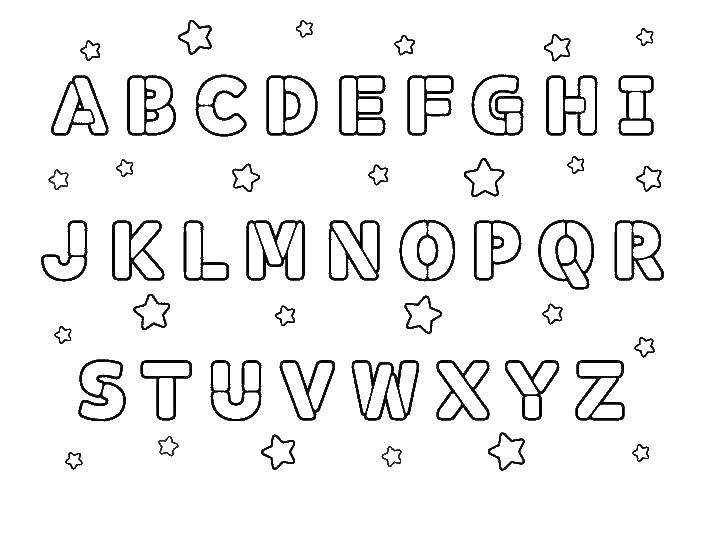 Coloring English alphabet, letters, stars Download The alphabet, letters.  Print ,English alphabet,