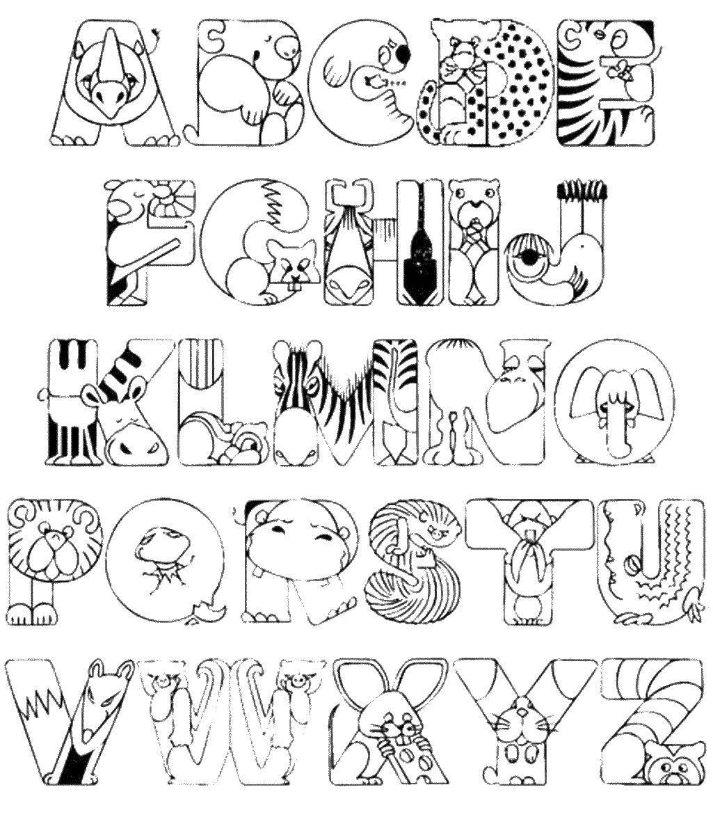 алфавит русский раскраски в картинках на английском