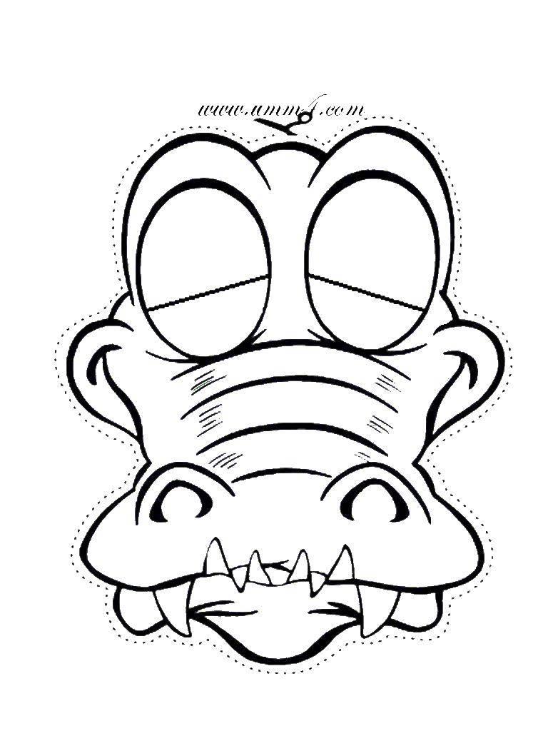 Coloring Mask crocodile Download Mask, crocodile,.  Print