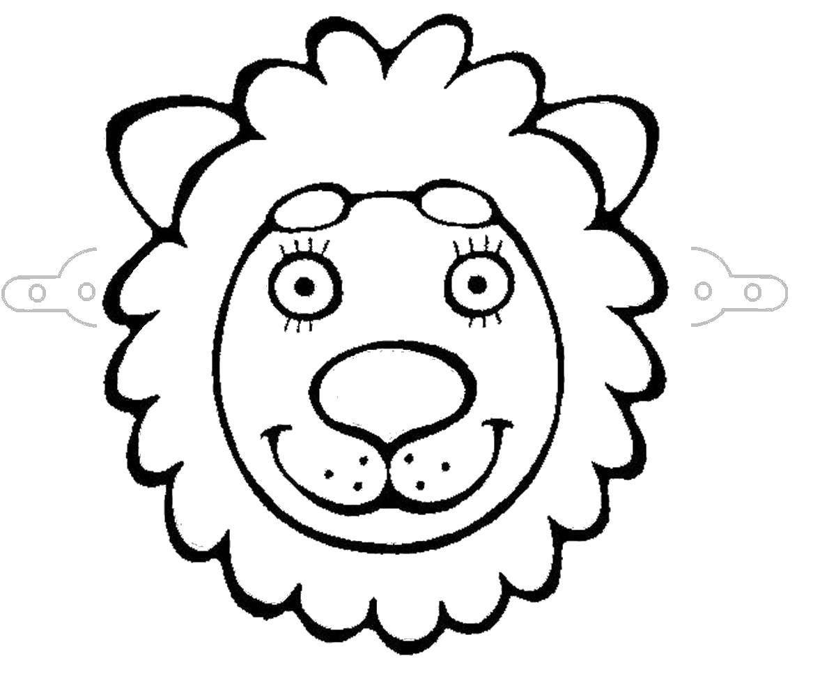 Картинка морда льва для аппликации маленькая