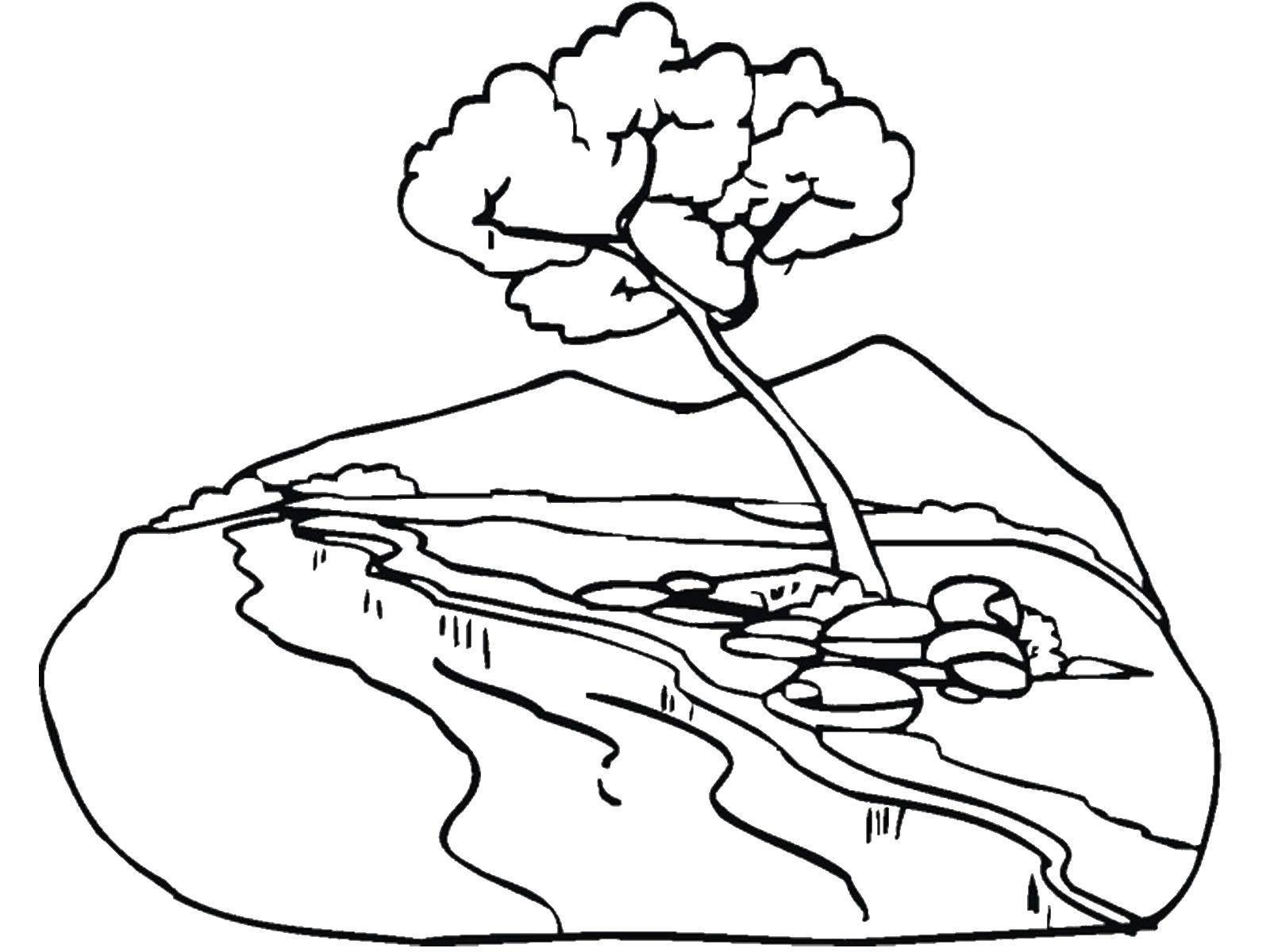 Картинка раскраска ручей для детей