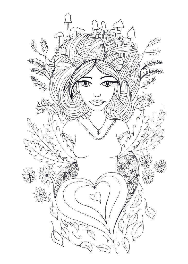 Coloring Girl nature Download girl, nature.  Print ,Nature,