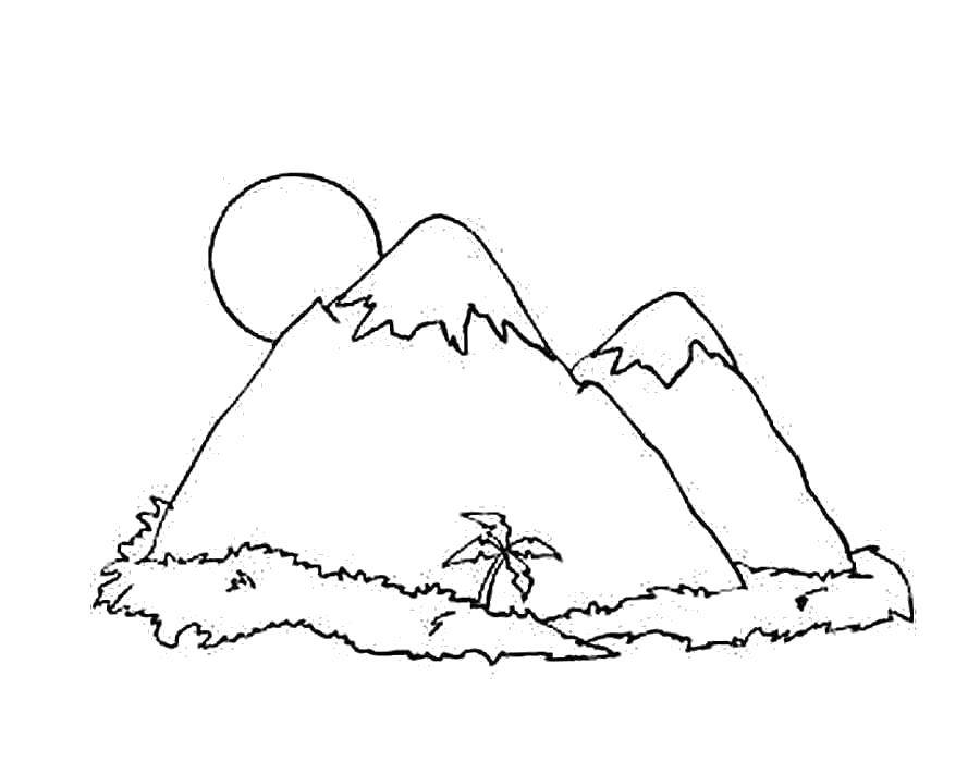 Coloring Mountains in the tropics Download Nature, forest, mountains, palm,.  Print