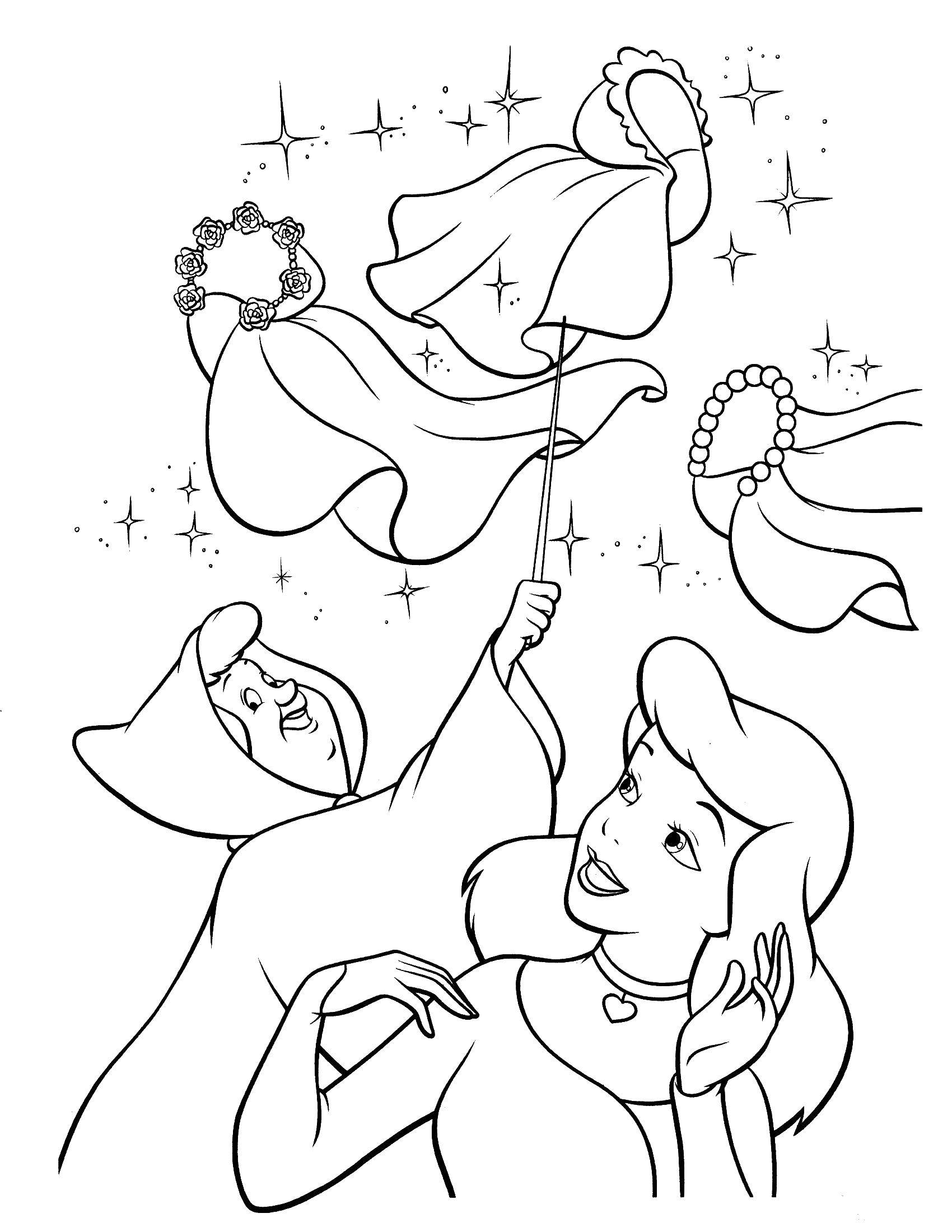 Fairy godmother Cinderella Coloring book Colouring Pages ... | 2200x1700