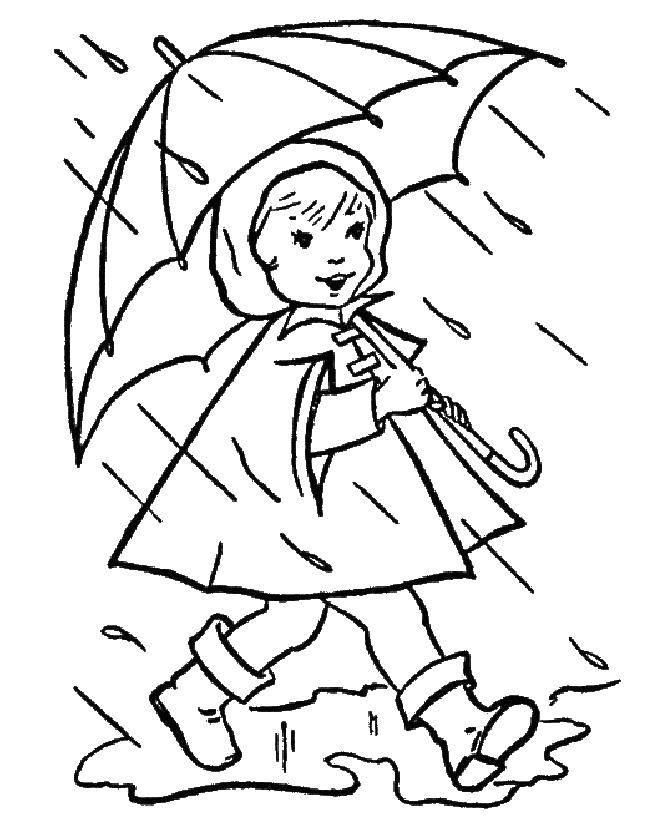Coloring Autumn rain. Category children. Tags:  Girl , autumn, rain, umbrella.