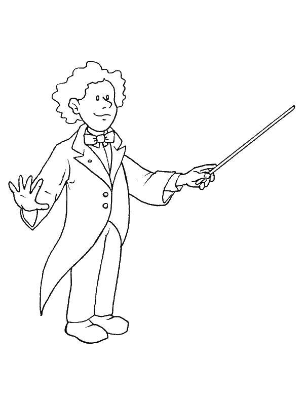 Coloring Head of music orchestra Download the orchestra, conductor.  Print ,musical instruments ,