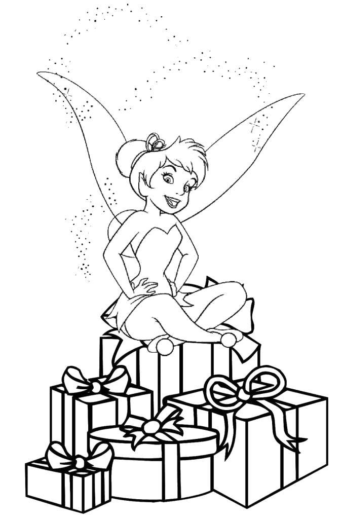 Coloring Tinker bell from disney fairies sitting on gifts. Category fairies. Tags:  Fairy, tale.
