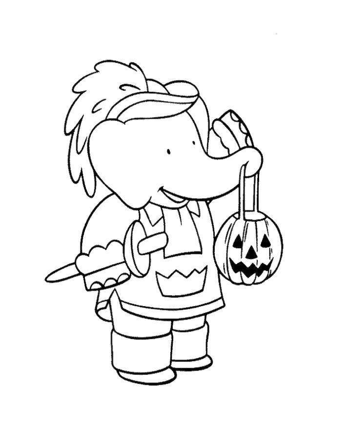 Coloring The elephant went trick-or-treating. Category Halloween. Tags:  Halloween, pumpkin, sweets.
