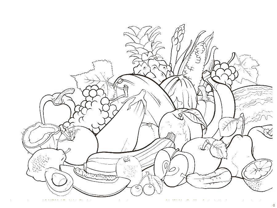 Раскраски тыква, Раскраска Тыква овощи.