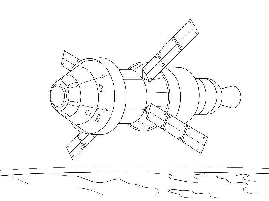 Coloring Satellite in space Download ,Satellite, space,.  Print