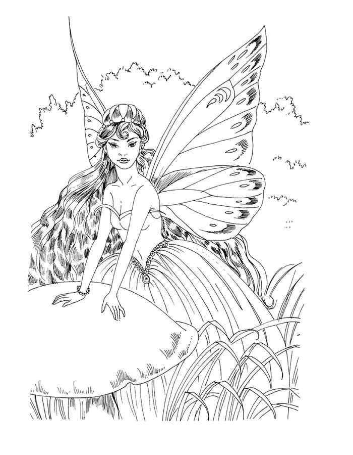 Coloring Fairy on the mushroom Download ,Fairy, forest, fairy tale,.  Print