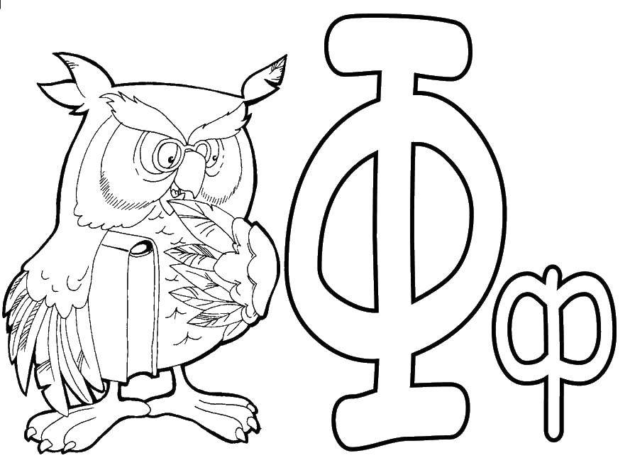 Coloring Owl Download the letter f, owl,.  Print