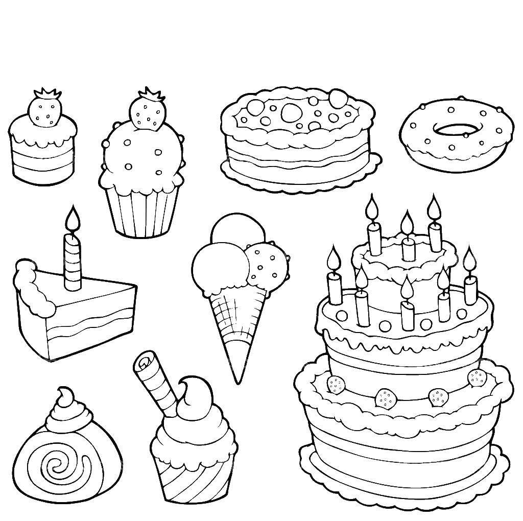 Раскраска сладости Скачать ,Торт, еда, праздник,.  Распечатать