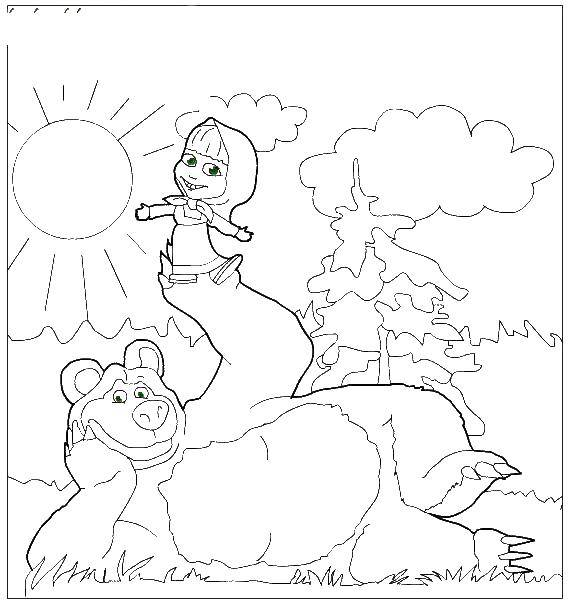 Coloring Masha and the bear in nature Download Masha, Bear.  Print ,Masha and the bear,