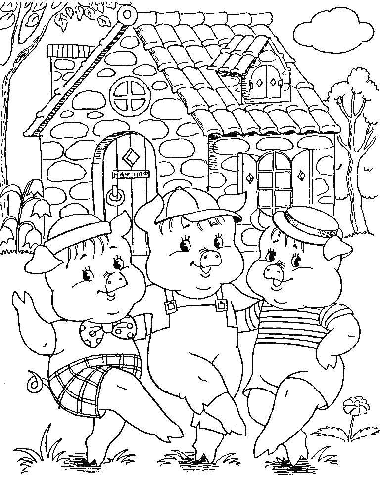 Coloring The three little pigs play. Category baby. Tags:  pig, wolf.