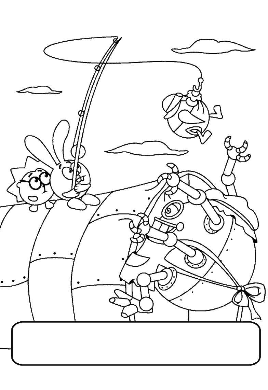 Раскраски спасают, Раскраска Крош и еж спасают пина Смешарики.