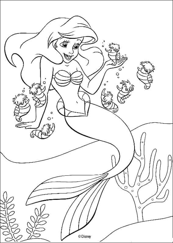 Coloring sheet The little mermaid Download monitor, printer, speakers.  Print ,coloring,
