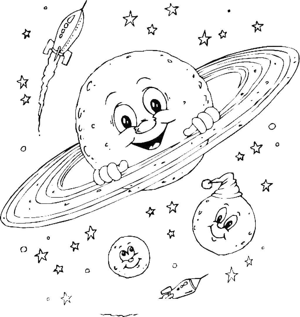 Coloring Planets and rockets Download the planet.  Print ,Soviet coloring,