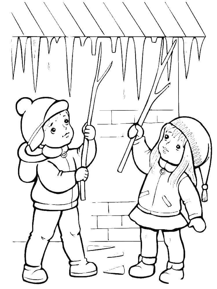 Coloring Children break icicles Download children, ice.  Print ,People,