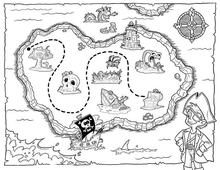 Раскраска раскраска сокровища Скачать ,Пират, остров, сокровища, карта,.  Распечатать