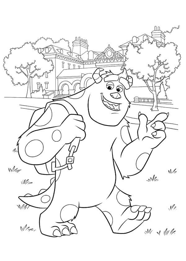 Coloring The monster from monsters Inc goes to school. Category school. Tags:  School, student, portfolio.