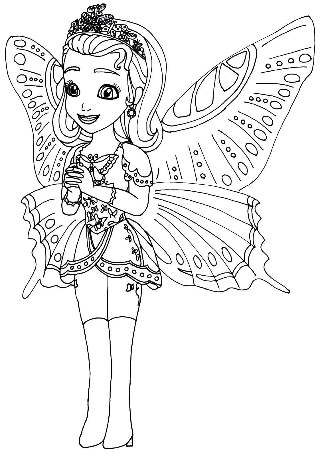 Coloring Fairy with beautiful wings. Category fairies. Tags:  Fairy, tale.