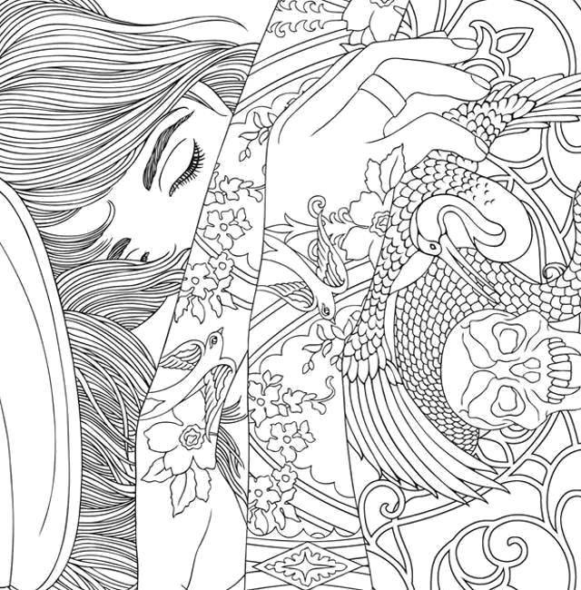 Раскраски для взрослых, Раскраска Девушка в татуировках ...