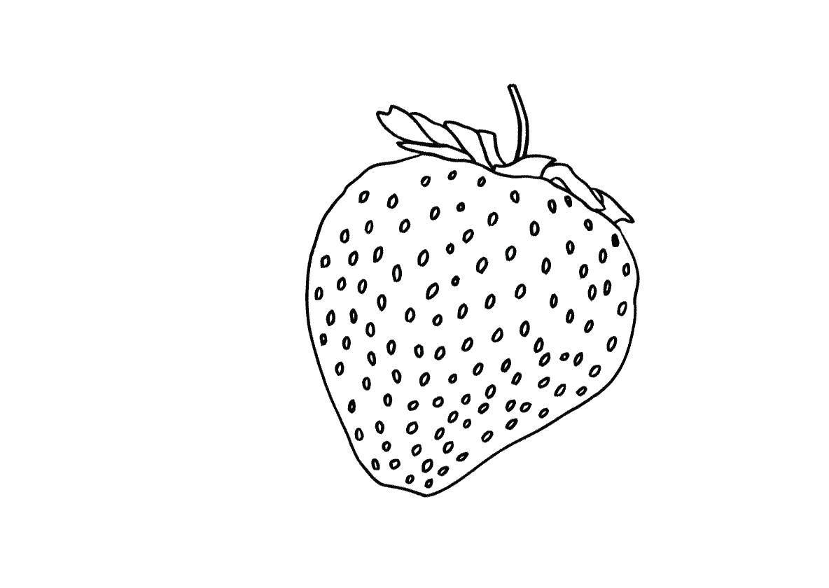 Раскраски клубничка, Раскраска Сочная клубничка ягоды.