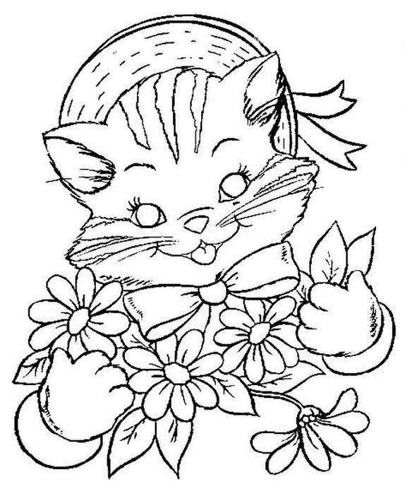 Раскраски платье, Раскраска Кошка в платье котики.