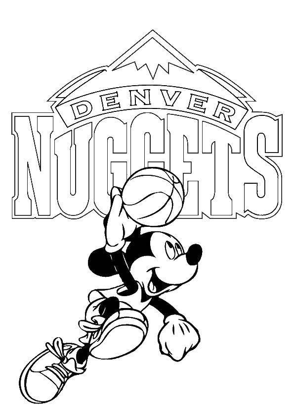Coloring Mickey mouse basketball player Download Disney, Mickey Mouse.  Print ,Mickey mouse,
