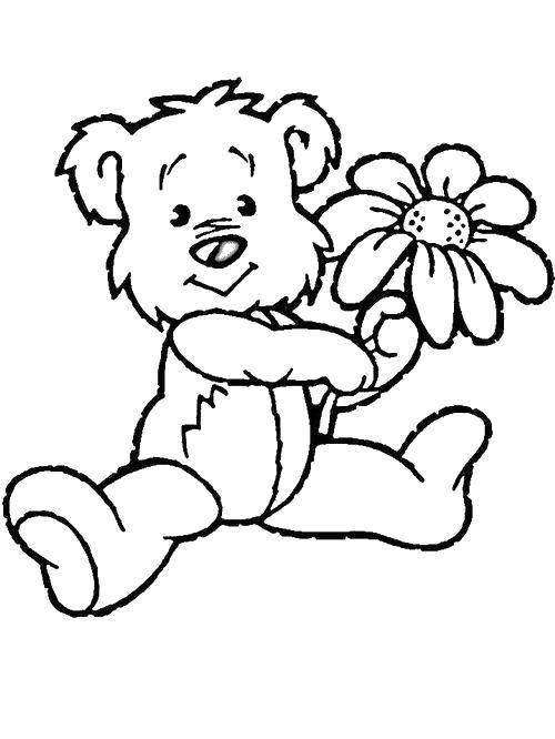 Coloring pages bears with flowers Скачать .  Распечатать