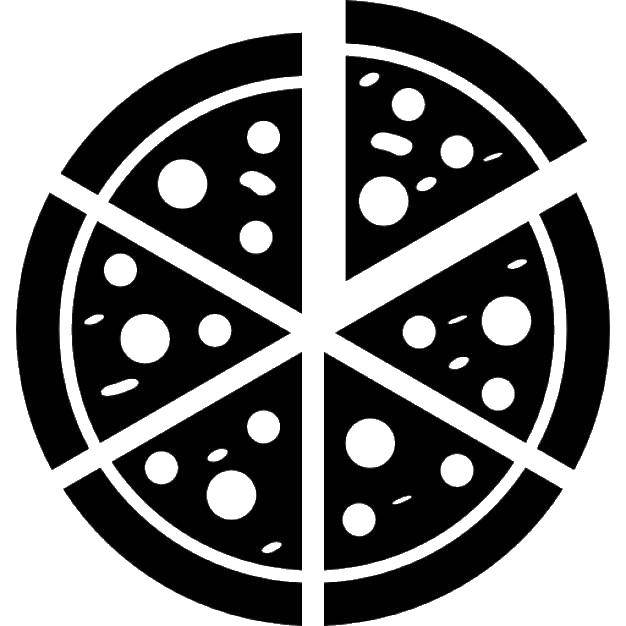 Coloring Silhouette pizza Download Outline ,.  Print