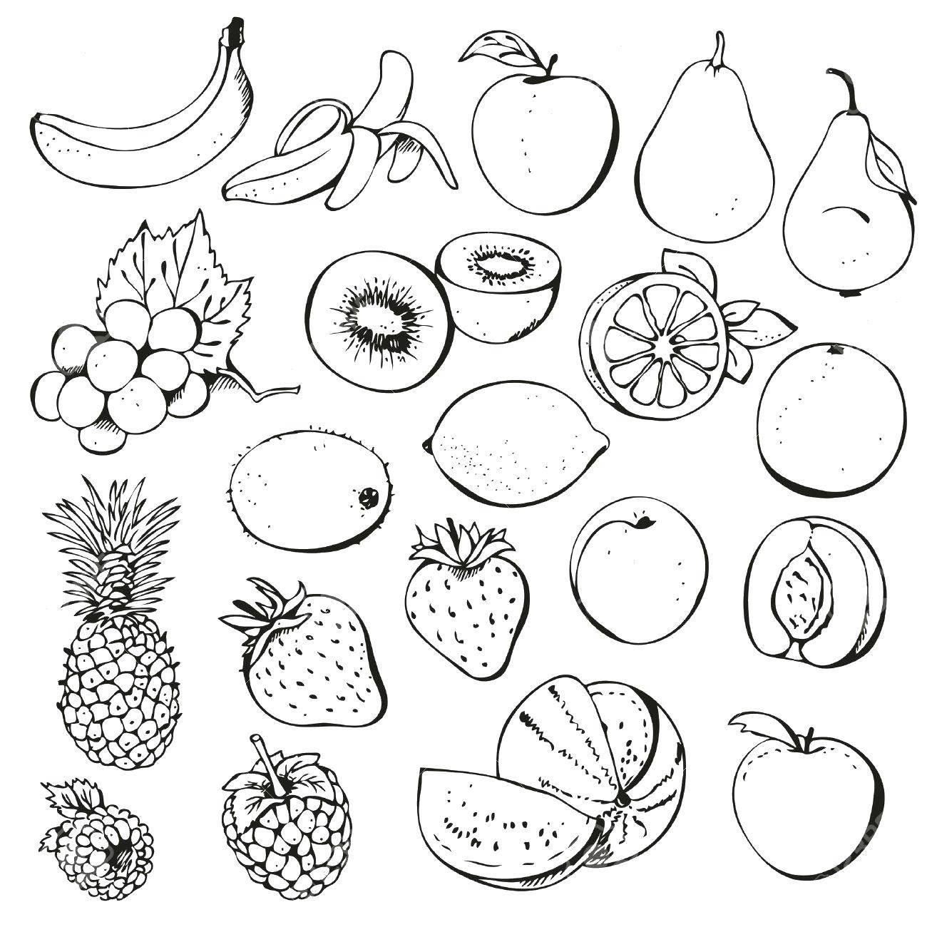 Раскраски ягод, Раскраска Фрукты и ягодки Еда.