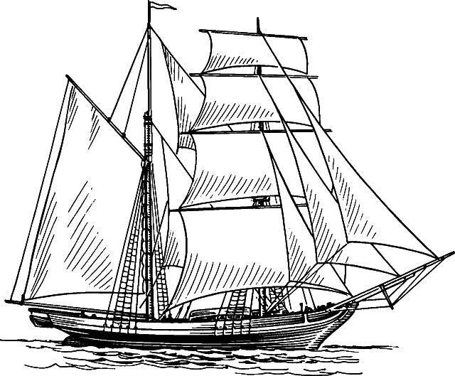 Раскраска корабли Скачать ,Корабль, вода,.  Распечатать