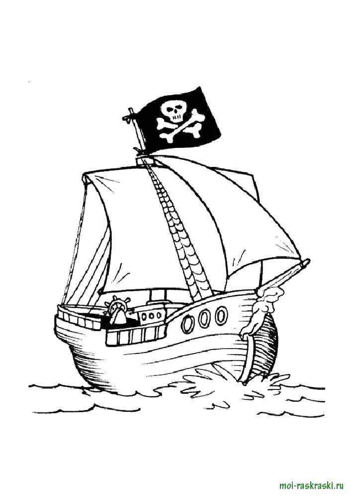 Название: Раскраска Пиратский корабль. Категория: корабли. Теги: корабль, море.